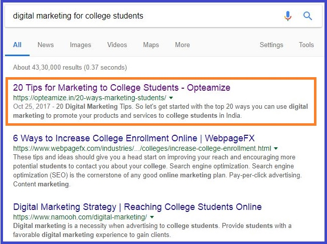 google search college event marketing